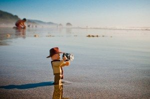 Indy takes in some of the sights and sounds of the Pacific Ocean at Cannon Beach.